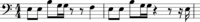 Example 4. Two measures of music in bass clef (single line)