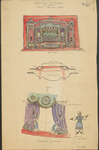 Scene design in red, purple, and blue for The Snake Woman, created in three parts: a front elevation, ground plan, and a detail of the curtain mechanism and attendants. Emphasis in these designs is on the forestage as a primary playing area and on the fully visible attendants who pull back the stage curtain.