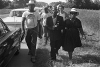"Legendary singer/activist Fannie Lou Hamer and others singing while walking in support of the Mississippi ""March Against Fear,"" begun by James Meredith in June 1966."