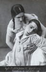In this photograph, Pierrette (Koonen), her hair in braids, supports the dead Pierrot (Tseretelli), both lovers in all white.