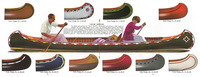 An illustration depicting several of the beautiful color designs available in 1926 for Old Town canoes.