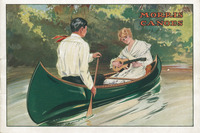 A woman in a canoe plays an instrument while a male paddles.