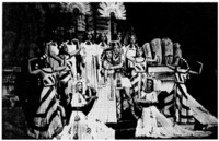 Egyptian royalty in Mon Paris. A scene from the Snow Troupe's 1947 performance of Mon Paris featuring the court of the Cleopatra-like queen. From Hashimoto (1994:67).