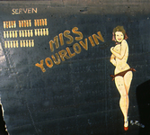 Artwork from the fuselage of the B-24 Miss Yourlovin.