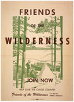 "An illustrated poster advertising the organization ""Friends of the Wilderness."""