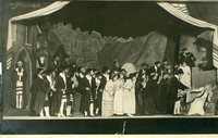 Black-and-white photograph of a wedding scene.