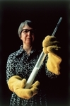The pioneering chemist Stephanie Kwolek holds the liquid crystal polymer that became Kevlar.