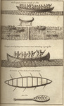 A drawing depicting several elm-bark canoes and an oar.