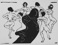 Black-and-white woodcut print depicting six nude women dancing in a wide circle, and a large black shadow hovers in the middle in between them. It is both joyous and ominous. Their hair and gestures show their movement and body parts are outlined with general detail.