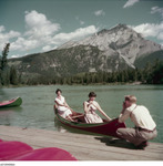 Canoeing became a more popular pastime in the twentieth century after the establishment of several national parks throughout North America. Here, two paddlers are photographed in 1952 at Banff National Park in Alberta, Canada.