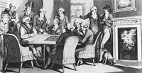 An engraving of Philidor playing a game of chess blindfolded.