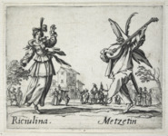 Etching foreground: a woman, left, dances to the music of a theorbo, played by a man, right, in a half mask and feather-adorned hat. Etching background: two musicians entertain families and riders on horseback.