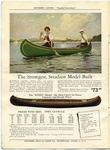 A page of advertising for Kennebec Canoes includes a colorful illustration of two people in a green canoe on a lake, and a drawing of a blue wooden canoe along with text describing the different dimensions and characteristic of the Kennebec Canoe.