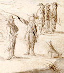 "Many Dutchmen kept dogs to help in the hunt. Detail from ""Landdag Ceremony on Taiwan,"" drawing by Caspar Schmalkalden. Used by permission of the Gotha Research Library (Gotha Forschungsbibliotek) (finding aid: Chart. B 533, fos. 288v–299)."
