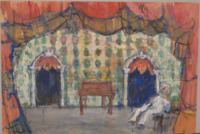 Pierrot's sparsely furnished room is framed by a red curtain and borders. The space within contains two entrances, symmetrically positioned left and right, a writing desk, center, and the melancholy Pierrot in white on a chair, right.