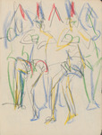 Abstract graphite and crayon sketch in paper sketchbook of Wigman's rehearsals, in which four dancers rehearse in a tight group, their forms accentuated by a repeating pattern of triangles over their heads. The dancers are indicated by green, blue, and yellow strokes of crayon; the triangles are in blue and red.