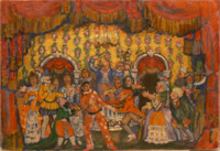 In the design for this wedding-ball setting, the deep red curtains, borders, and entrances from Pierrot's room remain, but the space now is flooded with color from the costumes of the guests, decked out primarily in warm oranges and reds. Musicians play on a cramped stage, center, conducted by the Kapellmeister/Pianist in blue, his baton aloft.