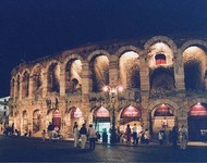 The Arena in Verona at Night (photo by author). At the time of this photograph (August 2001), evening performances during Verona's opera season were held in this first-century amphitheater.