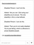 A written text post critiquing ableism by noting how an ableist person dismisses a disabled person.