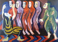 Colorful abstract oil painting of Dance of Death II, in which the Wigman figure in yellow and black dress bends into a deep knee bend with her arms above her head on the left; the tormenter in green lunges toward her from the right; and a row of lavender and red dancers leans in toward the center of the composition behind them. Lines and patterns connect all the figures visually, particularly a blue and red chevron pattern on the floor. Each figure is masked.