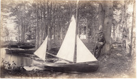 American Canoe Association founding member William Alden and his original canoe Shadow at the ACA gathering on Lake George in 1881.