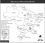 Black and white map showing an outline of Brazil divided into labeled states. There are varying size outlines of the mining conflict areas.