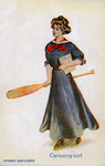 An illustrated postcard depicting a woman carrying her own oar.