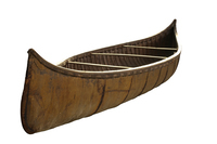 A color photograph of an Algonquin bark canoe.