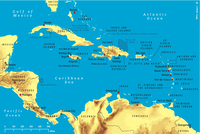 Map of Caribbean.