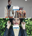 Two versions of the login page background. One photo is a fashionably dressed Black man, and the other is a fashionably dressed Black woman.