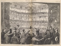 Sketch of large hall with three tiers in the background and several men in the foreground.
