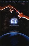 "A film poster for Steven Spielberg's film E.T.: The Extra-terrestrial, of a child's index finger touching a scaly alien's index finger with the starry night sky behind them and the planet earth below them with the taglines ""His adventure on earth"" and ""He is afraid. He is totally alone. And he's 3,000,000 light years from home."""