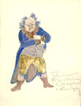 Costume design for the Kapellmeister/Pianist in a long blue tailcoat and gold-ochre breeches. Balding with a deeply lined face, his remaining hair, the same blue as his tailcoat, stands entirely on end.