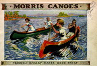Several women paddle canoes.