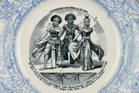 Fig. 1.3. Image is blue on a white china dish, showing three costumed Javanese dancers in a formal pose, with words circling the outside of the image.