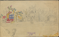 "This unfinished scene design, partly drawn in pencil, partly painted, hearkens directly to medieval ""mansions,"" side-by-side settings that depict multiple locations simultaneously."