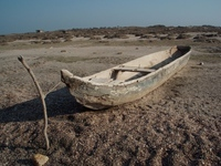 Dugout canoes are still used in daily life throughout the Americas. This contemporary dugout was photographed at Playa de San Mateo del Mar near Oaxaca, Mexico.