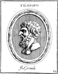 Engraved gem with the bust of Epicurus.
