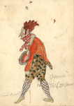 Costume design for the Dance Master in polka-dotted knee breeches and an orange tailcoat, the vividness of which is matched only by the blazing red of his hair.