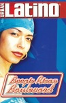 Figure 12. The portrait of Caridad de la Luz wearing a baby blue bandana on her head, red lipstick, and large hoop earring serves as the program cover of the solo performance of Boogie Rican Boulevard (2002).