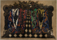 Design by Alexandra Exter for the Kamerny Theatre stage curtain, adorned with animals, birds, diamond patterns, vines, and faces in red, black, blue, green, and yellow.
