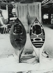 Two Nomad decked sailing canoes under construction at the Rushton boat shop, ca. 1900.
