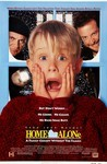"A film poster for the film Home Alone, of a young blonde boy in a red sweater (Macaulay Culkin) holding his hands to his face, yelling, with two men in black learing over his shoulders and the tag line ""But don't worry. He Cooks. He Cleans. He kicks some butt"" above the movie title and the line ""A family comedy without the family"" underneath the movie title."