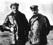 Russian aviators Mikhail Efimov (left) and Lev Matsievich (right) in 1910.