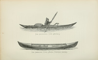 Maria Theresa canoe, as illustrated by Nathaniel Bishop in his Voyage of the Paper Canoe, published in 1878. Bishop paddled 2,500 miles in Maria Theresa.