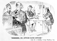 This cartoon captures both GIs' possessive attitude toward enlisted women and their suspicion of officers' purportedly roving eyes.