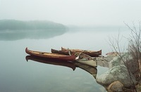 A color photograph of four birch-bark canoes in the water near rocks and grass on the shore.