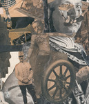 Detail of photo collage featuring Orientalist dancer Sent M'Ahesa in Middle Eastern costume montaged with military leader Friedrich von Hindenburg. The dancer body features a cutout head of a historical figure atop a wheel. Another larger face is imposed behind the scene. Other pieces of magazine cuttings layer into the detail shot, such as other people's faces and legs.