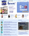"A crowded webpage offering the following options/sections: a ""Free Profile"" section which states ""Enter information below to get started and get a free diet profile,"" a ""The Biggest Loser Club"" section which states ""Be part of the NBC Phenomenon"" and shows various other club members (both show contestants and others) advertising how much weight they lost and thanking The Biggest Loser for their success, a ""What you get"" section that lists the benefits of becoming a club member (including daily meal plans, personal progress journal, newsletter, and more), and an ""Exclusive Video"" section with a video ready to play titled ""Say 'Basta' to Pasta!"" The main colors used are The Biggest Loser brand blue and yellow."