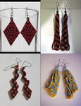Figure 19. Four different handmade beaded earrings by Sandra María Esteves. On the top left are black and red diamond-shaped earrings. On the top right are dangling earrings with black and white lines. The earrings on the bottom right are shaped like lightning bolts and made of black, red, and white beads. On the bottom right are blue and yellow dangling earrings.